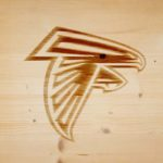 atlanta falcons branding iron on wood