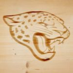 jacksonvile jaguar branding iron on wood
