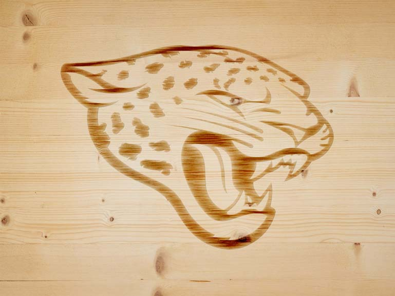 jacksonvile jaguar branding iron on wood