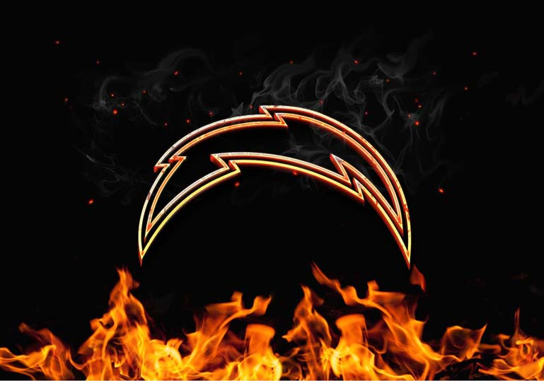 los angeles chargers burn fire logo