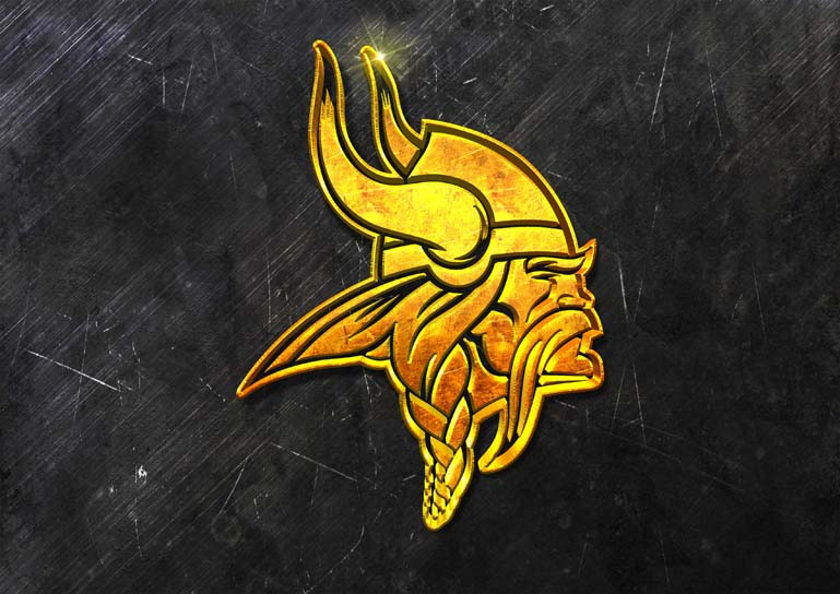 minnesota vikings 3d grunge gold