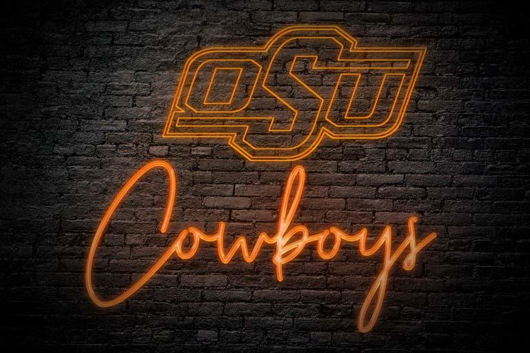 oklahoma state cowboys neon logo