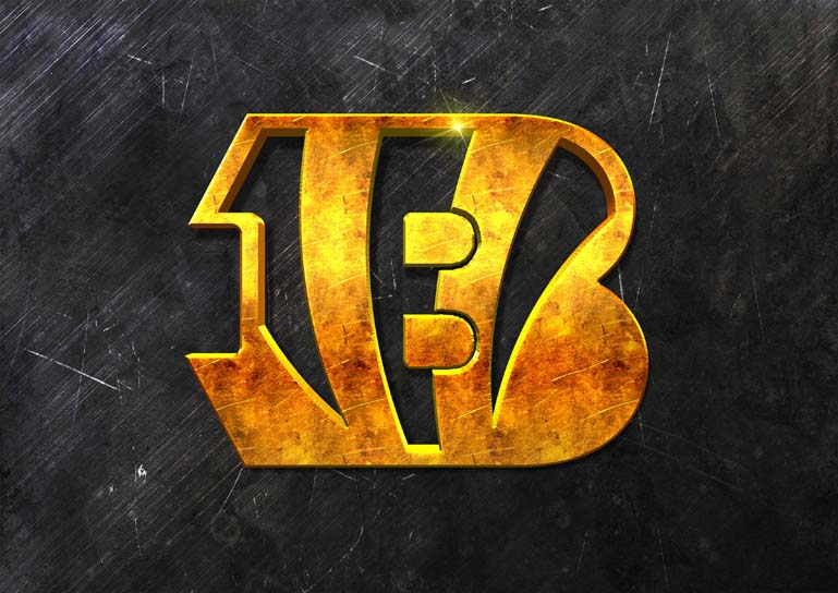 cincinnati bengals 3d grunge gold
