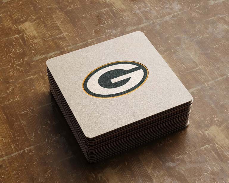 green bay packers square card paper logo