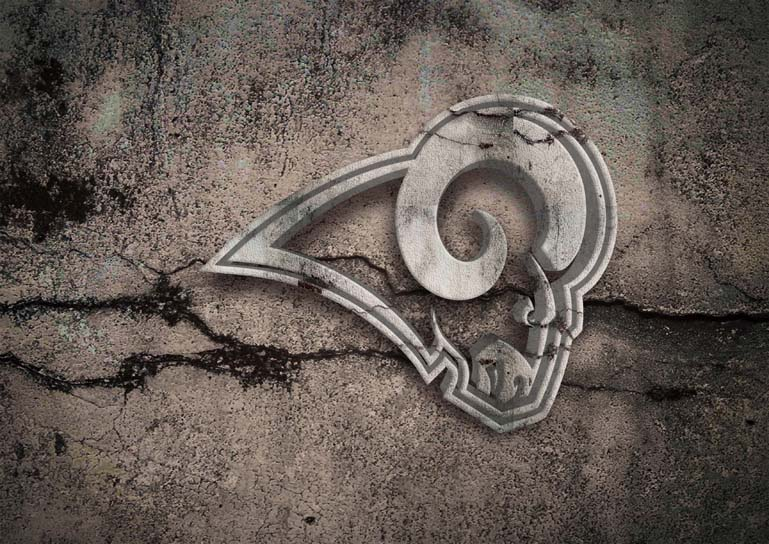 los angeles rams 3d stone text style