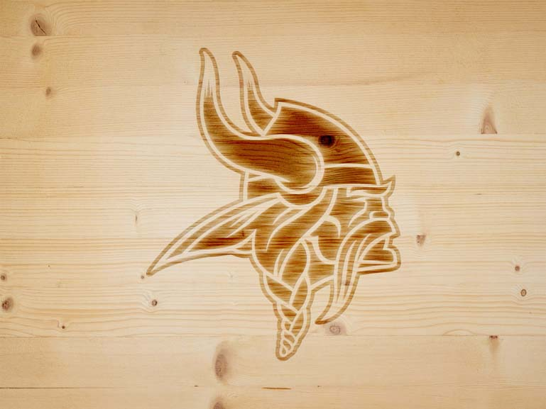 minnesota vikings branding iron on wood